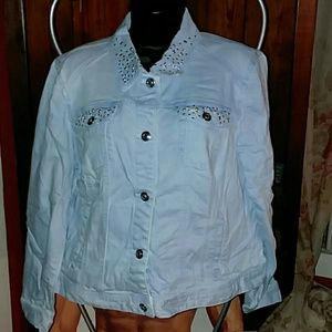 PLATINUM CHICO'S EMBELLISHED LIGHT DENIM JACKET 2X